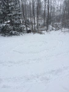 A snow spiral, one of many I walk while the snows fall!